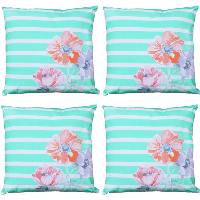 Mainstays Green Floral Throw Pillow