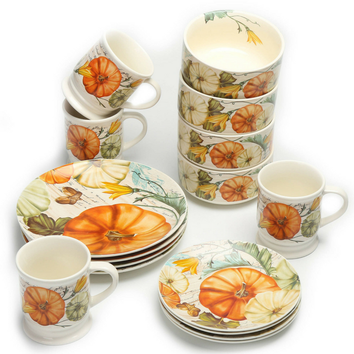 Mainstays 16-Piece Pumpkins Dinnerware Set