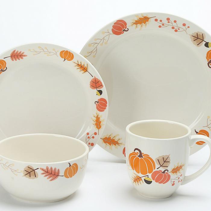 Mainstays 16-Pc. Leaf Pumpkin Dinnerware Set
