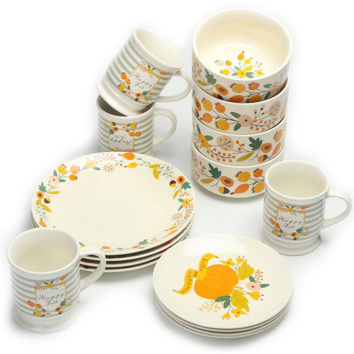 Mainstays 16-Piece Floral Dinnerware Set