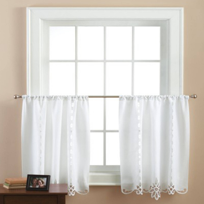 Mainstays White Lace Curtains Set Of 2